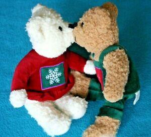 "Hallmark Kiss Kiss Mistletoe 9"" Plush Snowflake Bears 2001"