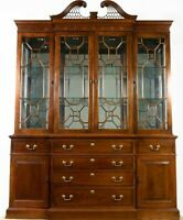 Stickley Chippendale Style Breakfront China Cabinet Fretwork Williamsburg Style