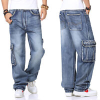 Plus Size Mens Jeans Hip Hop Jeans Baggie Cargo Trouser Baggy Casual Pants 30-46