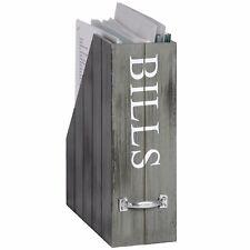 Shabby Chic Grey White Bills Holder Paperwork Filing Wooden Storage Box Holder