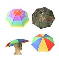 Outdoor Foldable Sun Umbrella Hat Golf Fishing Camping Headwear Cap Head Hats SD