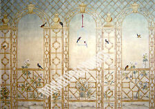 Dolls House Wallpaper Mural Trellis Birds 1/12 scale Quality Paper #22 Miniature