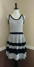 Black & White Skater Dress M Geometric Stretch Knit Stripes Gilli from Modcloth