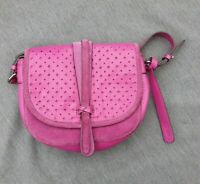 💕 CLARKS Magenta Pink SUEDE Crossbody Saddlebag Handbag Bag