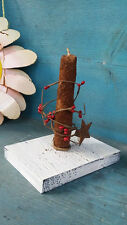 Primitive Wood Candle Holder Handmade Grubby Candle Pip Berries Rusty Star