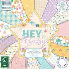 "6"" x 6"" Full Pad 48 Sheet HEY BABY Card Making Scrapbook Craft Backing Paper"