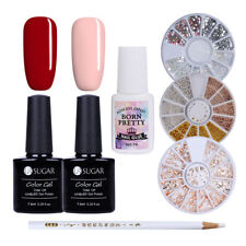 7pcs/set New Year Manicure Kit 3D Nail Rhinestones Red Pink Gel Polish Decor