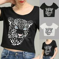 Women Tiger Printed Short Sleeve Blouse Ladies Summer Casual Crop Top T Shirt