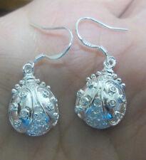 Sterling Silver Ladybug Lady Beetle Dangle Earrings