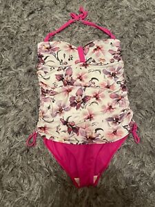 Next Halterneck Swimsuit Size 18 Padded Control, ruched sides