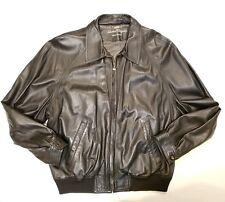 Salvatore Ferragamo Italian Black Leather Classic Bomber Jacket Mens Size 52
