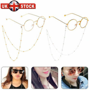 Hot Gold Silver Glasses Chain Long Sunglasses Necklace Glass Bead Lanyard