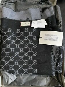 Gucci Black and Grey Reversible GG Wool Scarf