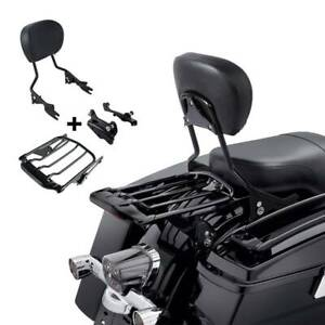 Sissy Bar LED Luggage Rack w/ Docking Kit Fit For Harley Road King Glide 14-21