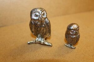 """VINTAGE METAL OWLS PAPERWEIGHTS 2.5"""" AND 1.5"""" TALL"""