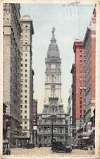 Pa. Philadelphia, Broad Street and City Hall Tower, auto car voiture 1921