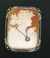 Vintage 14K White Gold Portrait Carved Shell Cameo Diamond Filigree Frame Brooch