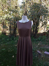 Vintage 60's Mod Shift Short Pleated Dress Brown