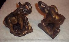 "2 ANTIQUE BRASS TONE ELEPHANT BOOK END 1975 SCC 8"" Tall"