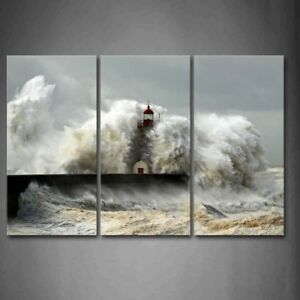 Framed Lighthouse Sea Waves Wall Art Painting Picture Print On Canvas Pictures