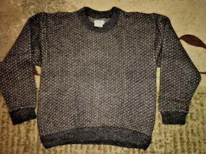 LL BEAN Birdseye Norwegian Fisherman Wool Blend Sweater Large Gray/Cream
