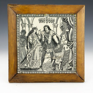 Antique Malkin Edge & Co. - Cinderella Series Court Scene Tile - Framed