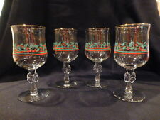 4 Arbys Christmas Holly & Berry w/ Bow, Gold Trim, Wine Stemmed Glasses