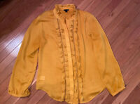 Ann Taylor Womens Mustard Yellow Blouse Top Ruffle Front Button Down Size Large