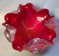 Vintage Italian murano glass sommerso cranberry and silver flakes dish