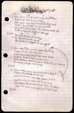 BOB DYLAN REPRO 1963 - BLOWIN' IN THE WIND - HANDWRITTEN LYRICS