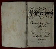 1820   Handschrift - BÖHMEN - Beschreibung der Herrschaften, Güter und Freyhöfe