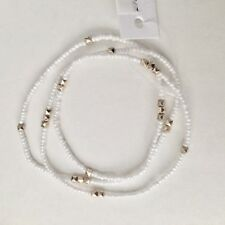 """Wrap Bracelet Necklace Stretch 24"""" Long Nwt BaubleBar White Seed Bead Gold-Tone"""