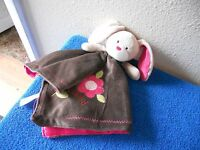 carters plush bunny blanket brown pink Lovey Security Blanket