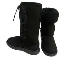 Ultra Tall Black Ugg Boots Australian Moulded Sole Laceup Wool Sheepskin Boot