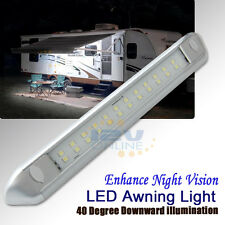 "12V 9.84"" Silver LED Awning Porch Light RV Caravan Boat Garden Patio Annex Lamp"