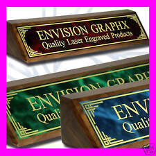 PERSONALIZED CUSTOM WALNUT DESK NAME PLATE DESIGN GIFT (choose a color plate)
