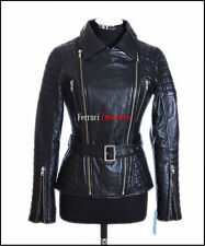 Shakira Black Ladies Retro Catwalk Jacket Real Lambskin Military Fashion Jacket