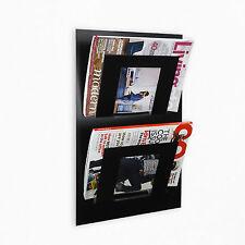 Designer Double Wall Mounted Magazine Newspaper Rack Black