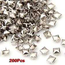 200 pcs Copper 6 mm Silver Pyramid Studs Pyramids Rivets Decoration LW