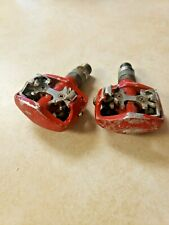 WELLGO MTB BIKE CLIPLESS PEDALS SHIMANO SPD red vintage race mountain bike road