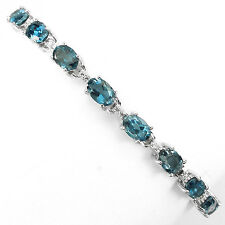 Sterling Silver 925 Genuine Natural Oval London Blue Topaz Bracelet 7.25-8.5 In