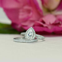 Pear Cut Diamond Engagement Ring Wedding Band Bridal Set 10k Real White Gold