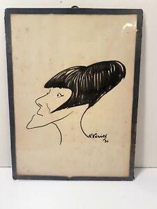 Henri Emile Truth - Caricature Portrait Drawing Watercolour S / Paper 1930