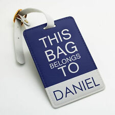 Personalized PU Luggage Tag, Custom name and text, navy blue and many colors