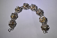 Vintage Taxco Sterling Silver Rose Bracelet Marked TC-18 925 Mexico Gorgeous 23g