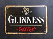 Guinness Black Label Logo Pub METAL SIGN vtg Retro Garage Wall Decor 20x30 Cm