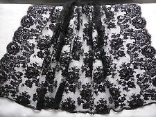 LARGE DENTELLE NOIRE CONFECTION vendue au Mètre à DECOR FLORAL-Largeur 135cm