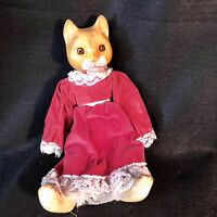 Vintage Cat Doll Figure In A Dress Porcelain Ceramic Collectable No Chips Used
