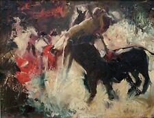 EDWARD RUNCI Pin-Up Girl Artist Original Signed Oil Painting Bullfight LISTED