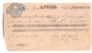 Argentina postal revenue 1862 received to page of 5 pesos very RR paper!!